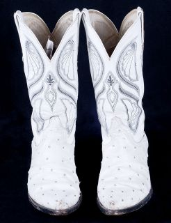 CUADRA White Ostrich Leather Mens Mexican Cowboy Western Boots Sz 9