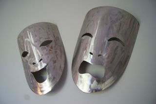 Metal wall art comedy and tragedy masks, Handmade by Joseph McCaughern