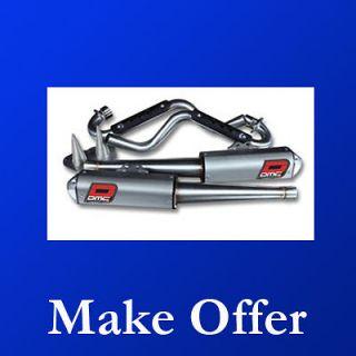 Yamaha Raptor 700 DMC Force 4 Megaphone Dual Exhaust Pipe Kit 06 12