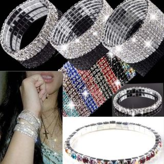 Rows Crystal Rhinestone Wedding Bridal Bangle Bracelet Bling