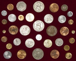 Lot Of 35 Mexican Coins Including 3 Silver Pesos & Key Date 100 Peso