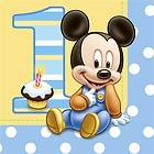 Mickey Mouse 1st Birthday Party Supplies Luncheon Napkins   16 Each