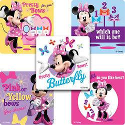15 DISNEY MINNIE MOUSE BOW Stickers Kid Party Goody Loot Bag Filler