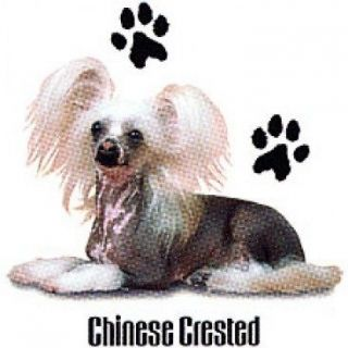 Chinese Crested Chihuahua Puppy Dog With Paw Prints White T Shirt   $9