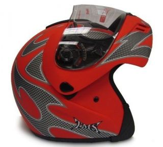 Flame Matte Red Flip Up Modular Full Face Motorcycle Helmet ~S/M/L/XL