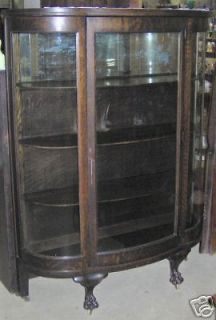 Finish Oak Antique Curved Glass China Cabinet Claw Feet Mirrored Back