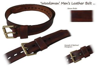 CRAFTS Woodsman Hand Crafted Made Mens Leather Belt   Brown / Black