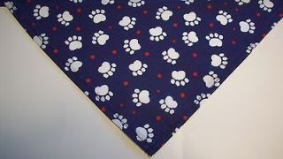 Dog Bandana Slide On Tie On Blue White Paw Prints Dog Apparel Scarf