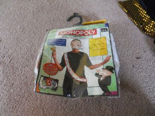 Adult Monopoly Board Game Costume Kit Mens Easy Mask Sash and Money