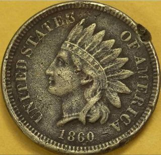 1860 INDIAN HEAD   CIVIL WAR ERA RELIC COPPER/NICKLE WHITE CENT #