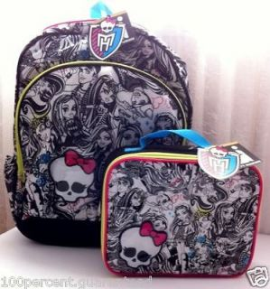 MONSTER HIGH Backpack and Lunch Box NEW Book Bag Tote With Tags Fast