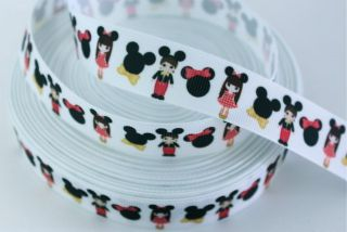 MICKEY MINNIE MOUSE CLUBHOUSE PRINTED GROSGRAIN RIBBON 7/8 INCH   5