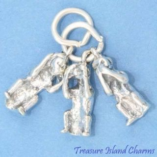 MONKEYS SEE HEAR SPEAK NO EVIL Movable 3D .925 Sterling Silver Charm