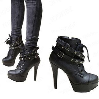 womens punk ankle motorcycle boots