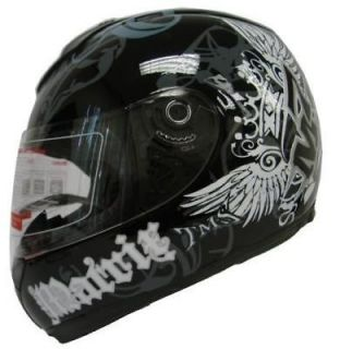 FULL FACE MOTORCYCLE STREET HELMET BLACK CROWN ROYAL~XL