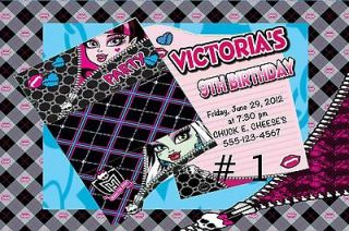 MONSTER HIGH BIRTHDAY PARTY INVITATIONS FAVORS THANK YOU CARDS
