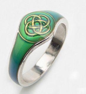 IRISH CELTIC KNOT MOOD RING+CHART SILVER/T GIRL WOMEN LADY US SZ 7/AUS