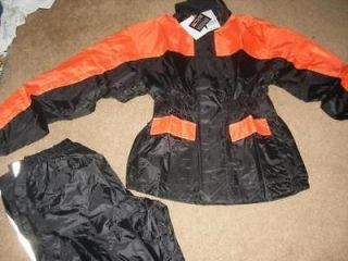 New Motorcycle Biker Rain Suit Gear 2 piece Sm/Med Orange & Black Rain