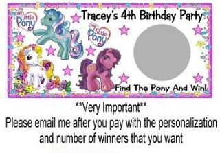 10 My Little Pony Birthday Party Scratch Off Game Cards