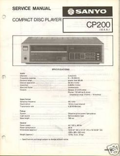 Original Service Manual Sanyo CP200 CD Player