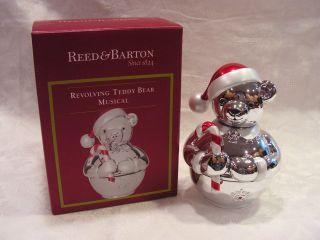 REED & BARTON REVOLVING TEDDY BEAR, MUSICAL SILVER MUSIC BOX NIB BABY
