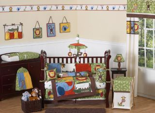SWEET JOJO DESIGNS ANIMAL JUNGLE SAFARI 9p BABY BOY CRIB BEDDING SET