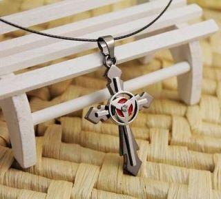 Naruto Hatake Kakashi Sharingan Wing Cross Pendant Necklace Unisex