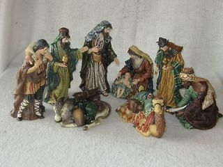 Hand Painted Porcelain Sculptures by OWell   8 Piece Nativity Scene
