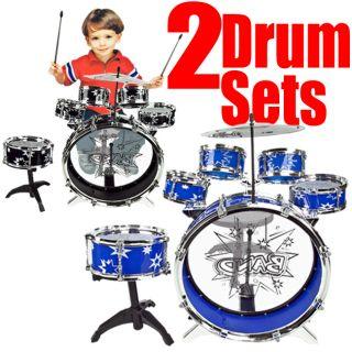 Drum Set Black & Blue Musical Instrument Music Band Child Kid Boy Girl