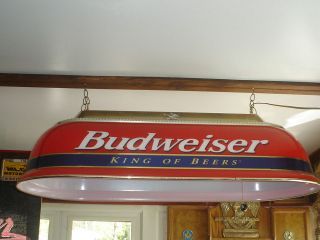 BUDWEISER LARGE RED & BLUE POOL TABLE LIGHT KING OF BEERS WORKS GREAT