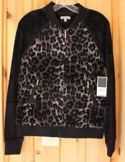 NWT Juicy Couture Black LEOPARD CHEETAH PRINT VELOUR BOMBER JACKET