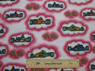INDY RACECARS Checkered Flags Flannel Fabric (G1)