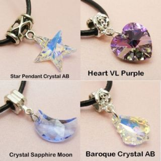 Genuine SWAROVSKI Crystal AB PENDANT & Leather NECKLACE HEART / STAR