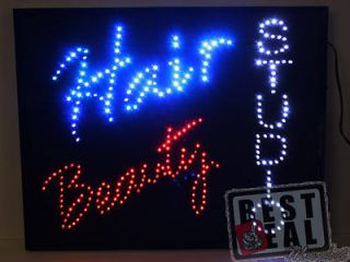 New Led Neon Motion Hair Beauty Open Sign 24x19x1