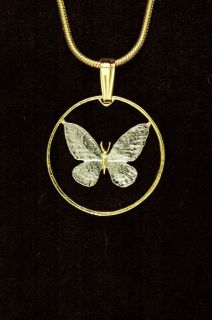 Philippines Butterfly Cut Coin Pendant Necklace 3/4