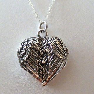 Sterling Silver Angel Wing Locket Necklace   Guardian Angel Wings