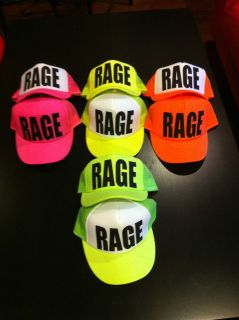 NEON FLOURESCENT TRUCKER HAT RAGE PARTY CAP PINK ORANGE YELLOW GREEN