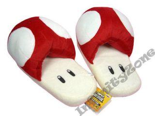 NEW Nintendo Super Mario Bros Red Mushroom Plush Doll Figure Slipper