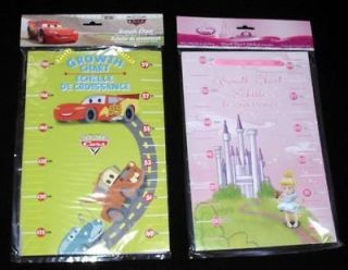 New Disney Princess Or Cars Height Growth Wall Chart