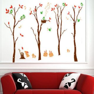 Lovely Trees Color Brown Room Wall Sticker Decor Decals Removable