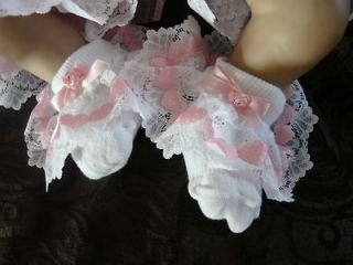 DREAM 0 3 MONTHS BABY GIRLS ROMANY PINK HEARTS FRILLY SOCKS 00 SHOES