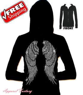 ANGEL WINGS Black women Junior Thermal Hoodie S XL faith cross
