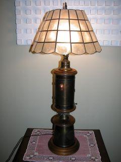 VTG BRASS DOUBLE LIGHT LAMP NIGHT CAPIZ SHELL MUST SEE