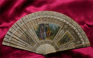 ANTIQUE VERNIS MARTIN HANDPAINTED ON OX BONE FAN ROMANTIC SCENE