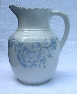 Sampson, Bridgwood & Son Antique Cream / Milk Pitcher   Blue Peony