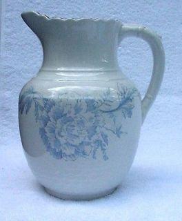 Sampson, Bridgwood & Son Antique Cream / Milk Pitcher   Blue Peony