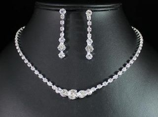 CLEAR AUSTRIAN RHINESTONE CRYSTAL NECKLACE EARRINGS SET BRIDAL N1392