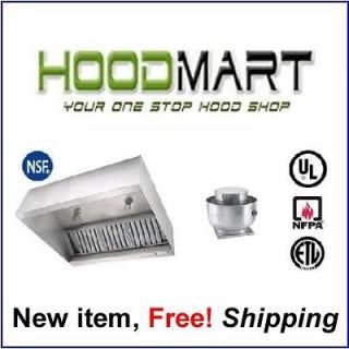 6ft 6 6 foot Commercial Restaurant Kitchen Hood System w/ Exhaust Fan