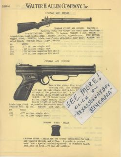 1949 CROSMAN ARMS SILENT AIR RIFLE PISTOL GUN TOY PRICE LIST