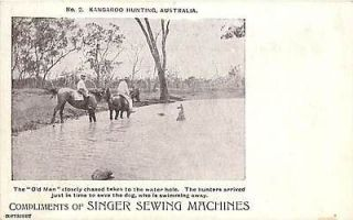 ​AROO HUNTING WATER HOLE OLD MAN SINGER SEWING MACHINES K2450​9